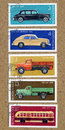 A stamp printed by ussr shows russian cars circa circa Stock Photo