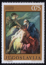 Stamp printed in Yugoslavia shows Abraham Sacrificing Isaac