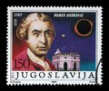 Stamp printed in Yugoslavia shows the 200th Anniversary of the Birth of Ruder Josip Boskovic Royalty Free Stock Photo