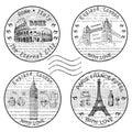 Stamp rome paris