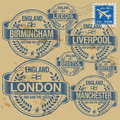 Stamp set england cities grunge rubber with names of Royalty Free Stock Photo