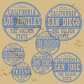 Stamp set grunge rubber with names of california cities Royalty Free Stock Photography