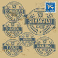 Stamp set grunge rubber with names of china cities part two Stock Photos