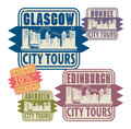 Stamp set grunge rubber with names of scotland cities Royalty Free Stock Photo