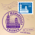 Stamp set grunge rubber with words marseilles france inside Royalty Free Stock Photo