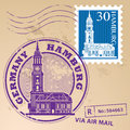 Stamp set hamburg with words germany inside Royalty Free Stock Photography