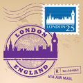 Stamp set london with text england inside Stock Photos