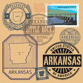 Stamp set with the name and map of Arkansas Royalty Free Stock Photo