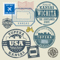 Stamp set with the name and map of Kansas Royalty Free Stock Photo