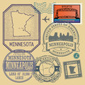 Stamp set with the name and map of Minnesota Royalty Free Stock Photo