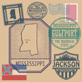 Stamp set with the name and map of Mississippi Royalty Free Stock Photo
