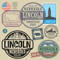 Stamp set with the name and map of Nebraska Royalty Free Stock Photo