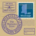 Stamp set with name of Mississippi Royalty Free Stock Photo