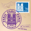 Stamp set paris with the name of france written inside the Royalty Free Stock Photography