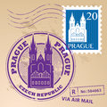 Stamp set prague with the name of czech republic written inside the Stock Photography
