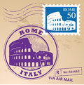 Stamp set rome with text italy inside Royalty Free Stock Images