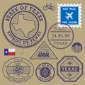 Stamp set Texas, USA Royalty Free Stock Photo