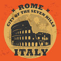Stamp set with text rome italy inside Stock Photography