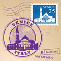 Stamp set venice with words italy inside Stock Photography