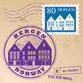 Stamp set with words bergen norway inside Royalty Free Stock Photos