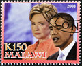 Stamp shows  Barack Obama with Hillary Clinton Royalty Free Stock Photo