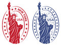 Stamp with statue of liberty vector illustration Stock Photos