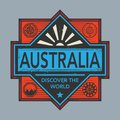 Stamp or vintage emblem with text Australia, Discover the World
