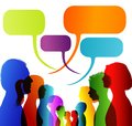 Faces silhouette head profile. Group of isolated multicolored people talking. Networking communication. Crowd speaks. Speech bubbl