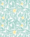 Seamless vector tropical pattern with aqua green palms leaves and pastel yellow flowers