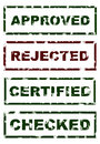 Stamps of approved rejected checked certified imprint with the text and Royalty Free Stock Photography