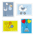 Stamps baby boy stork with rattle and carriage Royalty Free Stock Photography