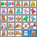 Stamps with colored teddy bears Royalty Free Stock Image