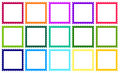 Stamps with different colored borders Royalty Free Stock Images