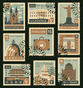 Stamps with different landmarks Royalty Free Stock Photo
