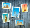 Stamps of famous landmarks Royalty Free Stock Image