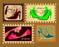 Stamps with female footwear Royalty Free Stock Photos