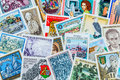 Stamps many different are adjacent collecting as a hobby Royalty Free Stock Photos