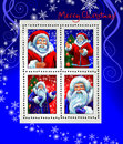 Stamps with Santa Claus and Grandfather Frost Stock Photo