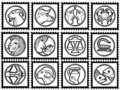 Stamps with signs of the zodiac Royalty Free Stock Photos