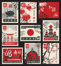 Stamps on the theme of Japan