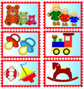 Stamps with toys Royalty Free Stock Photo