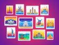Stamps - vector line travel illustration