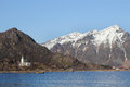 Stamsund s church near the shores of in lofoten Royalty Free Stock Photo