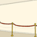 Stanchion and blank wall interior with gold velvet Stock Image