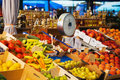 Stand on a mediterranean street market with fruits Stock Photos