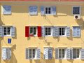 Stand out from the crowd being different concept red shutter among grey shutters Stock Photography