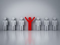 Stand out from the crowd or different concept red man standing with arms wide open in group other people Stock Image