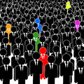 Stand out in a crowd few man with different color on the of black men Stock Images