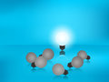 Stand out from the crowd. Outstanding glowing light bulb. Business success concept. Royalty Free Stock Photo