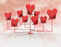 Stand with red hearts with flare illustration Stock Images